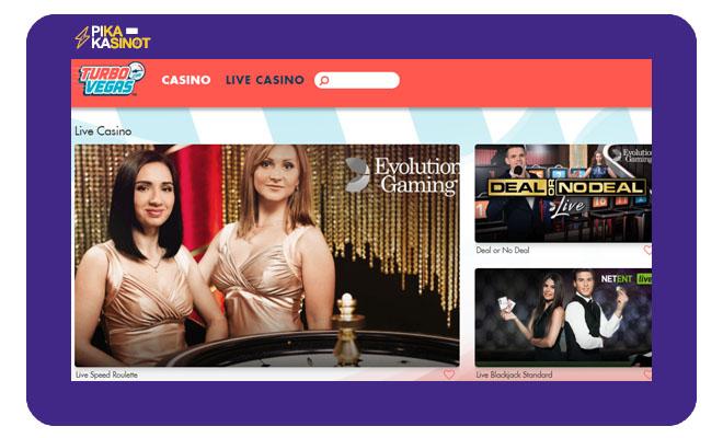 Laajasta pelivalikoimasta löytyy myös live casino pelejä
