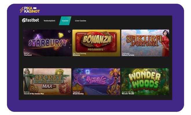 Fastbet kasinolta löydät yli 650 eri peliä