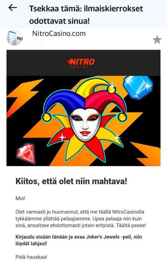 Nitro casinon bonus ilmaiskierroksiin