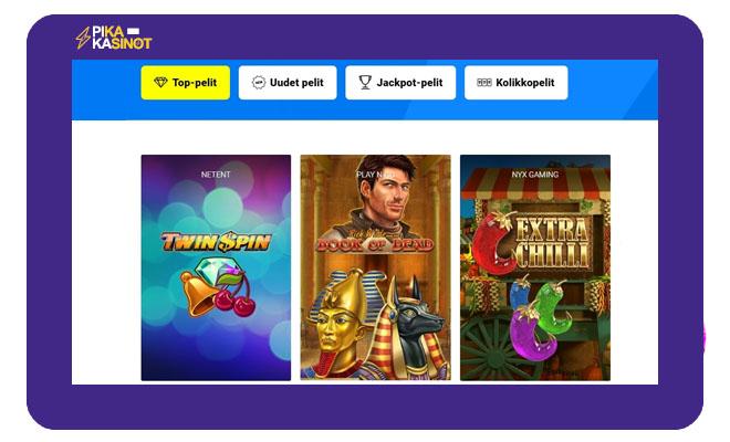 Sivuston pelifilttereiden avulla 800 peliä voi lajitella haluamallaan tavalla.