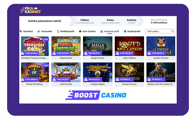 Boost Casino tarjoaa erittäin loistavia kokemuksia selkeästi sommitellulla valikollaan