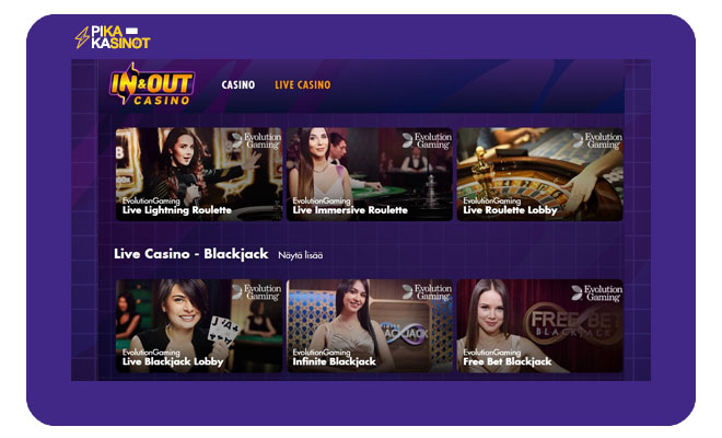 Live Casinon puolelta löytyy kymmeniä eri pelejä