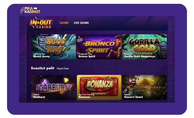 In And Out kasinon pelivalikoimasta löytyy yli 1 000 uniikkia peliä