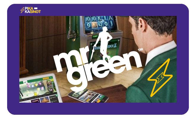 Mr Green casinon logo sekä esittely sivustosta