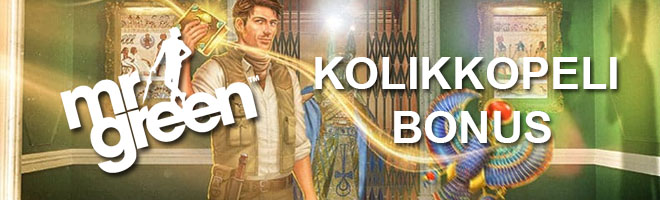 Mr Green kolikkopelien bonus on 100% 100 € asti + 100 ilmaiskierrosta
