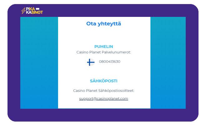 Casino Planet asiakaspalvelun tiedot
