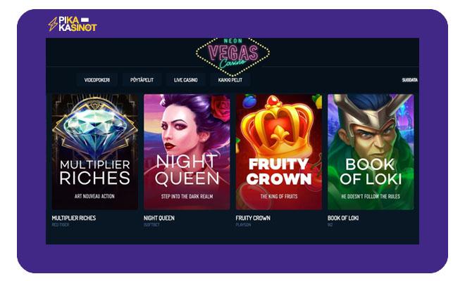 Sivustolla on erittäin selkeä aula, jonka avulla voit jaotella pelejä tuottajien mukaan