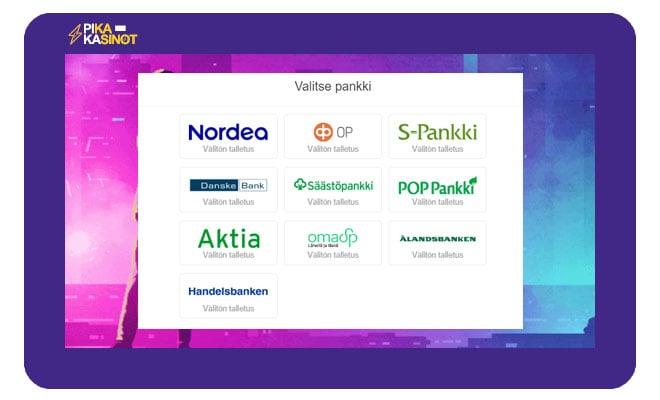 Sivustolla voi käyttää kymmentä eri suomalaista pankkia tallettamiseen ja kotiuttamiseen.