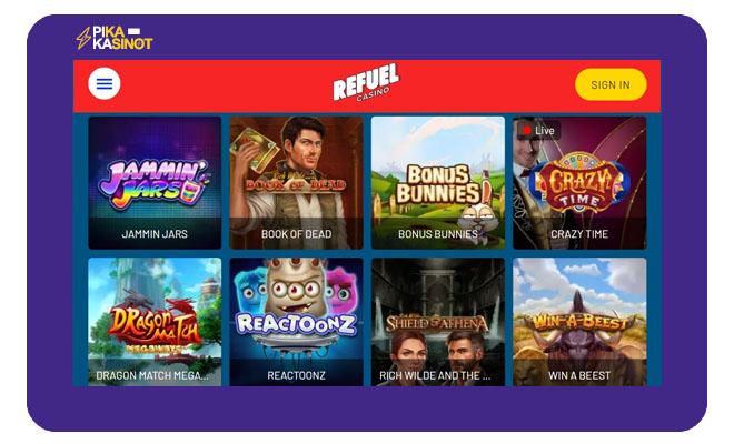 Sivustolta löytyy yli 1 600 uniikkia peliä joista noin 100 on live-casinon pelejä