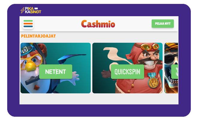 Cashmio kasinon yksi hyvistä kokemuksista oli se, että pelit pystyi erotella tuottajien mukaan