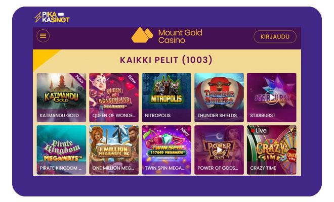 Kävimme keräämässä Mount Gold Casino kokemuksia heti julkaisun yhteydessä