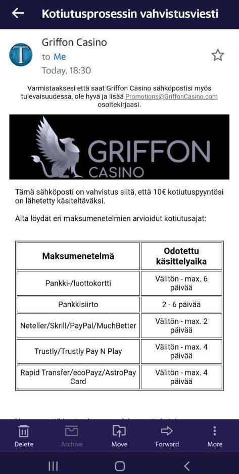 griffon casino kotiutus