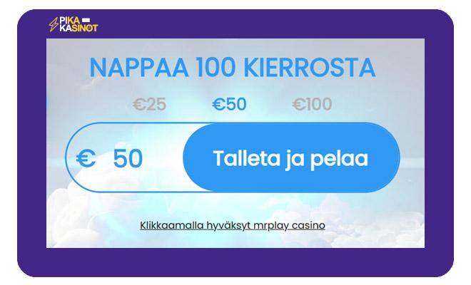 MrPlay tarjoaa 100 käteiskierrosta