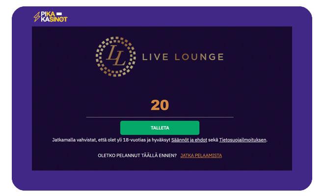 Minimitalletus LiveLounge kasinolla on 20 euroa