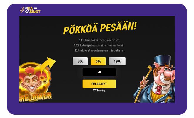 VIPs Casino tarjoaa uusille asiakkaille bonuksena ensimmäisestä talletuksesta 111 Fire Joker kierrosta ilman kierrätysvaatimuksia