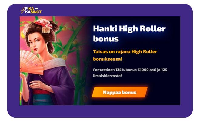WildTokyolla on tarjolla myös highroller bonus