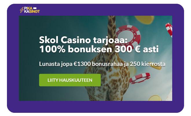 Skol Casinon tarjoama 100% bonus 300 € asti on loistava idea napata ensimmäiselle talletukselle