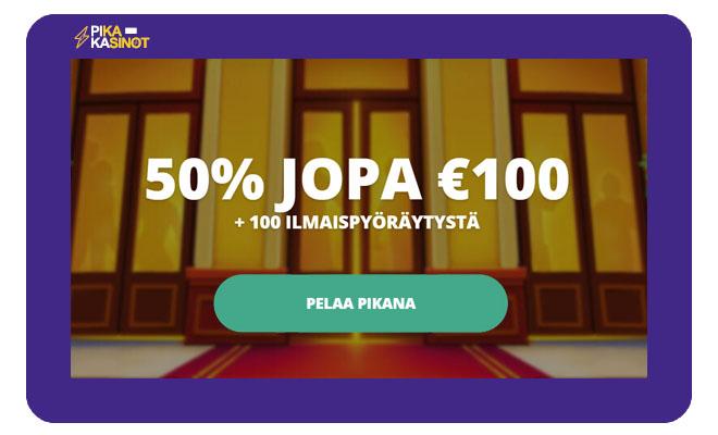 Casinoroomin bonus on 50% 100 € asti