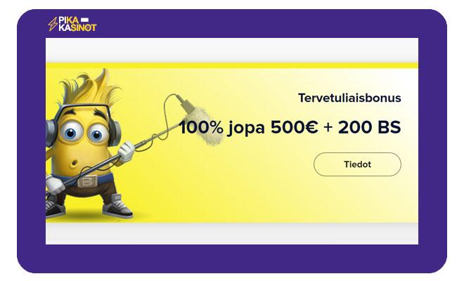 Nappaa nyt 100% light casino bonus 500 € asti