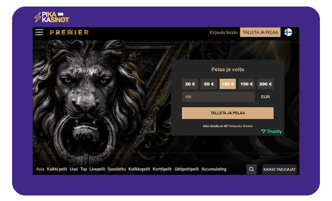 Tee talletus Premier Casinolle ilman tiliä