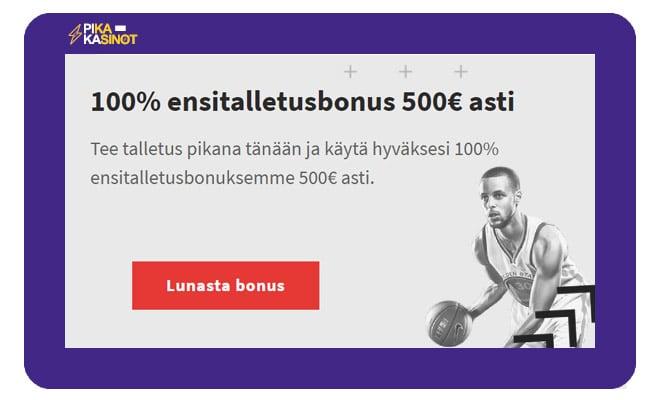 Nappaa Zulabet Casinon 100% bonus 500 € asti