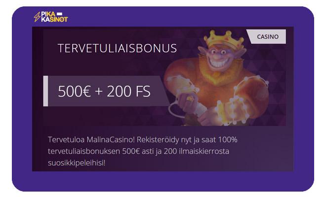Malina Casino bonus toimii 100 prosenttisena 500 € asti