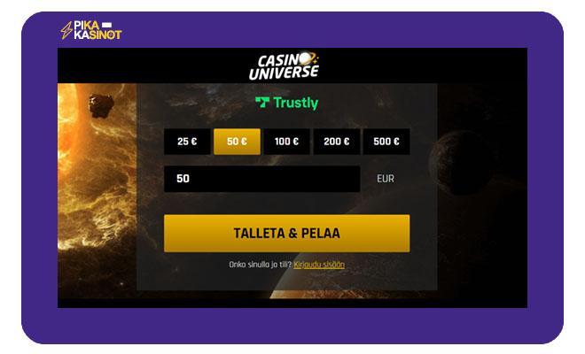 Casino Universe talletus ja kotiutus hoituu nopeasti Trustlyn välityksellä