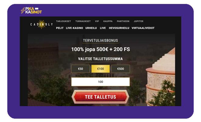 Casinoly sivustolla ensimmäinen talletus tuplataan 500 € asti
